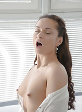 White get-up brunette gets her pussy licked and dicked by a black guy